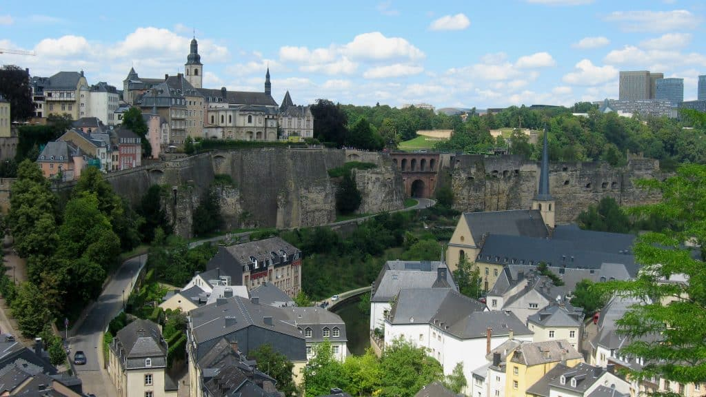 View from the Upper Town to Grund in Luxembourg City, Luxembourg
