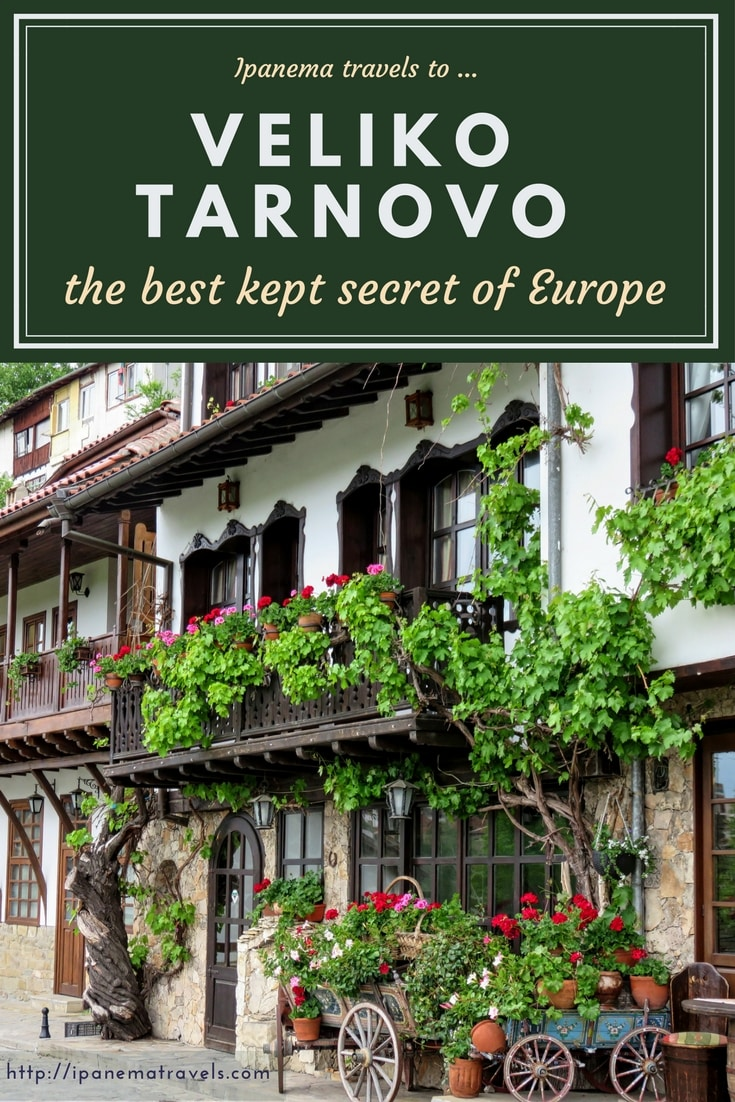 a house with wooden balcony and flowers with text above: Veliko Tarnovo - the best kept secret of Europe