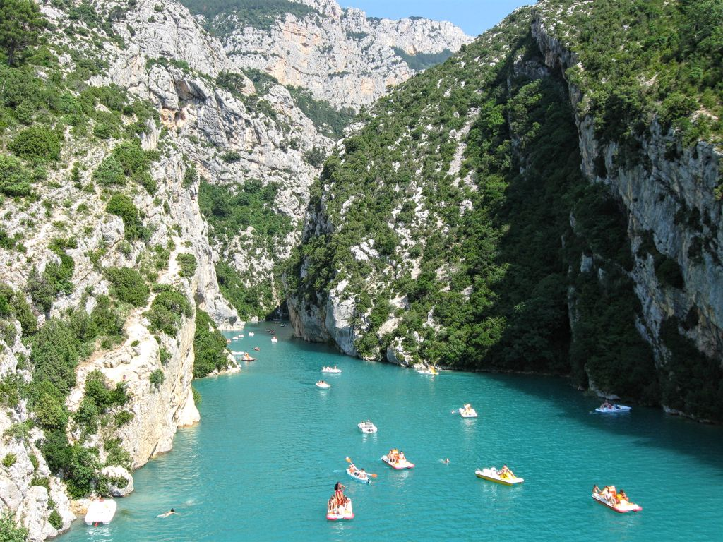 Gorges du Verdon, France, Provance, Lake of Sainte-Croix, pedal boats, water sports