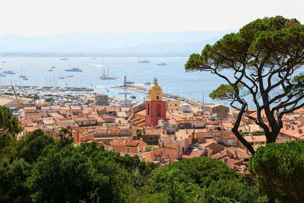 Saint Tropez, France, Provence, Côte d'Azure, yachts, rooftops, church bell tower