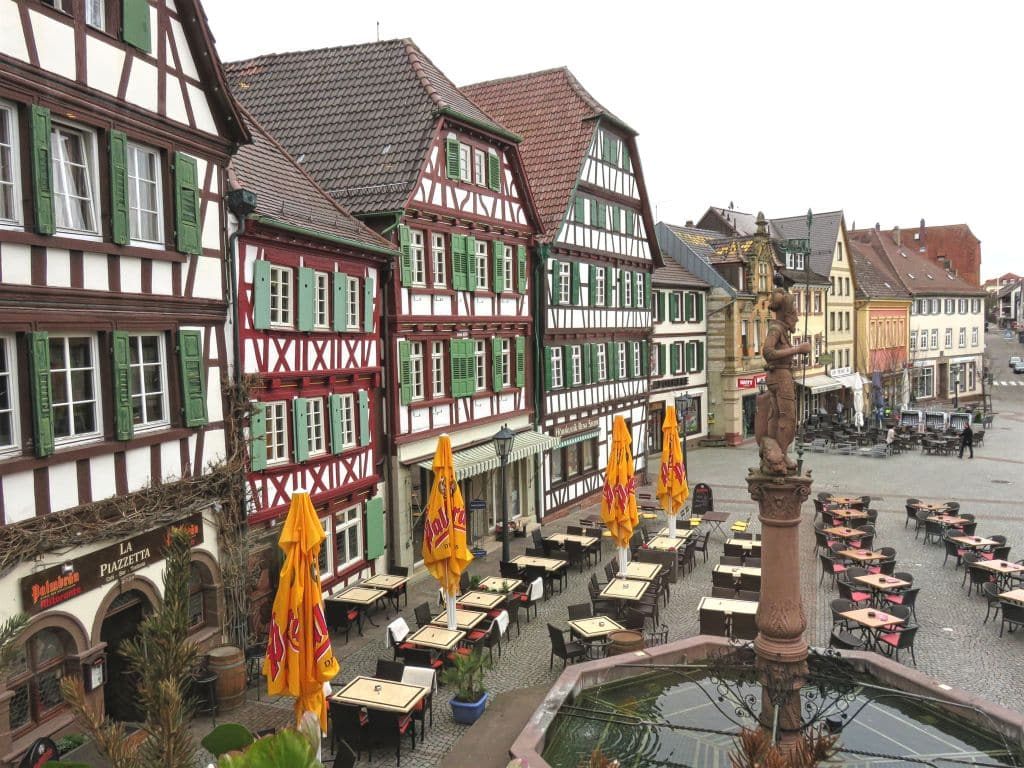 Market Square, Bretten, Germany, early morning, empty tables on a square