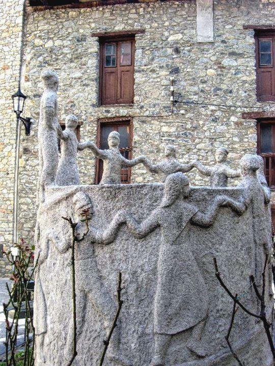 Contrapas monument, Andorra la Vella, Andorra, dancing people monument, stone monument
