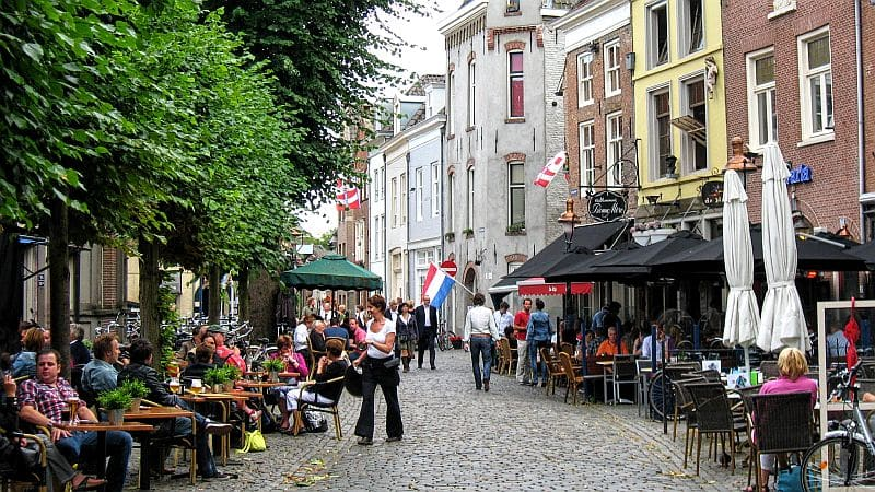 Cafés, restaurants, Vismarkt, Den Bosch, the Netherlands, Brabant, North Barabant, nice atmosphere