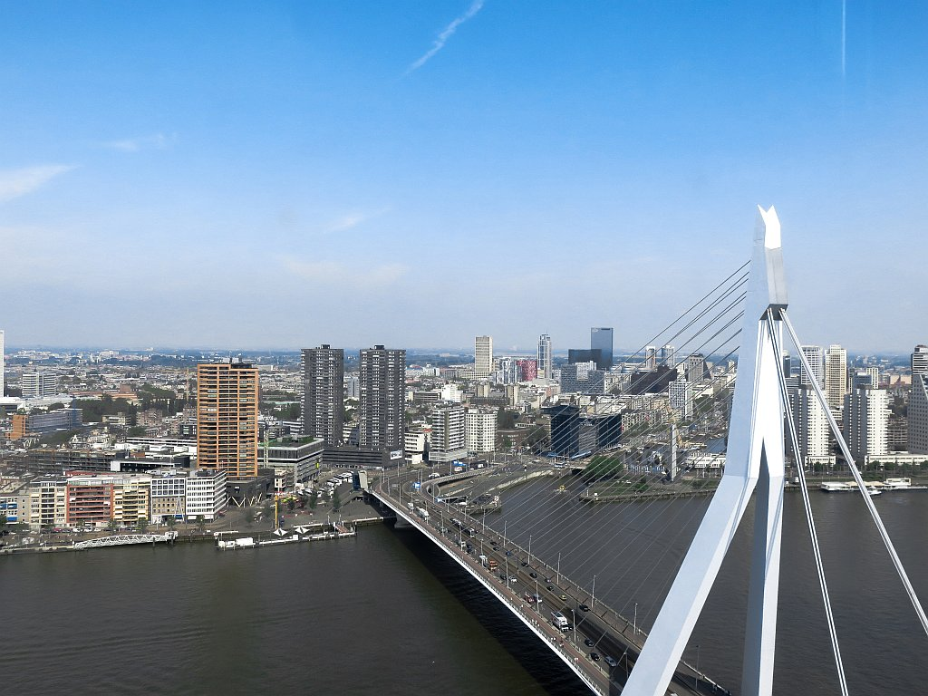 a river with a white bridge and high-rises at the background, the skyline of Rotterdam with Erasmus Bridge
