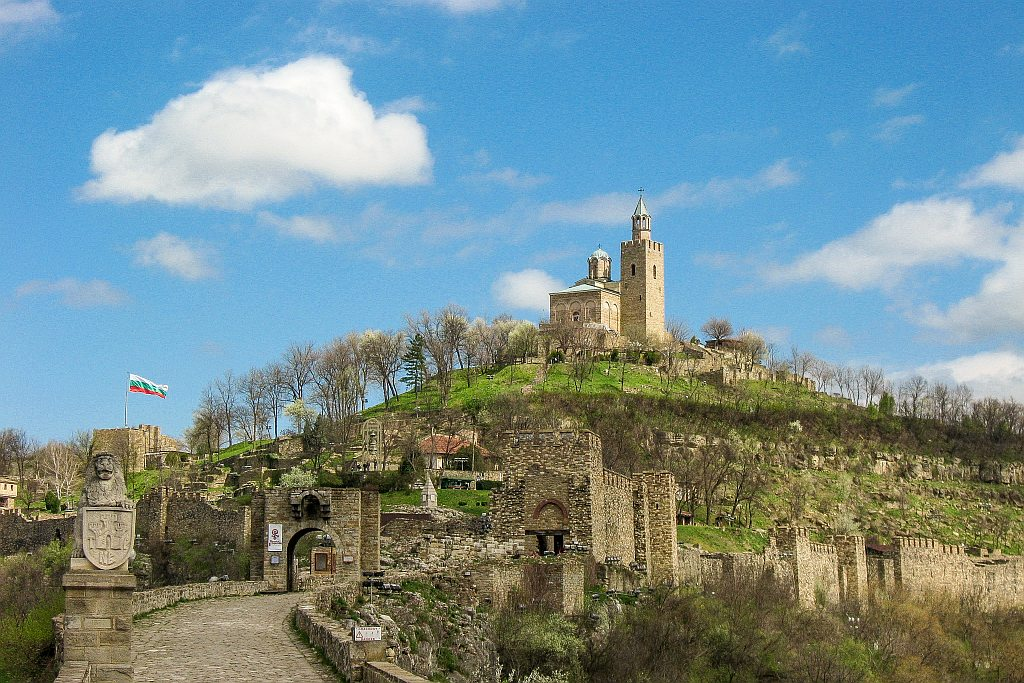 remains of a fortress with a church on the top of the hill; Tsarevets fortress in Veliko Tarnovo Bulgaria