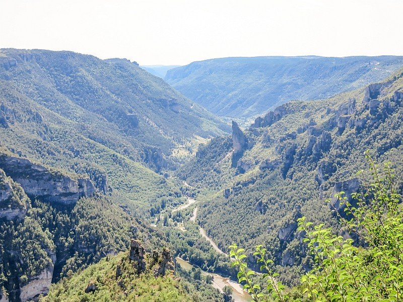 a river flowing with mountains on both sides covered with green trees and a rock jutting in the middle, Gorges du Tarn