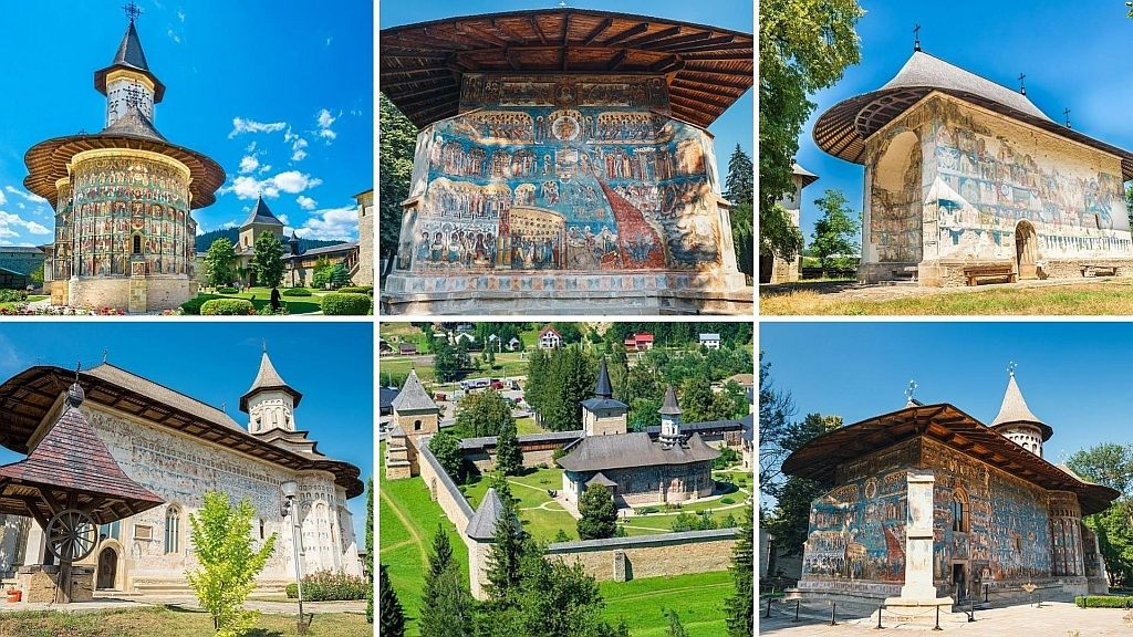 six pictures of Romanian painted monasteries - the painted monasteries of Bucovina