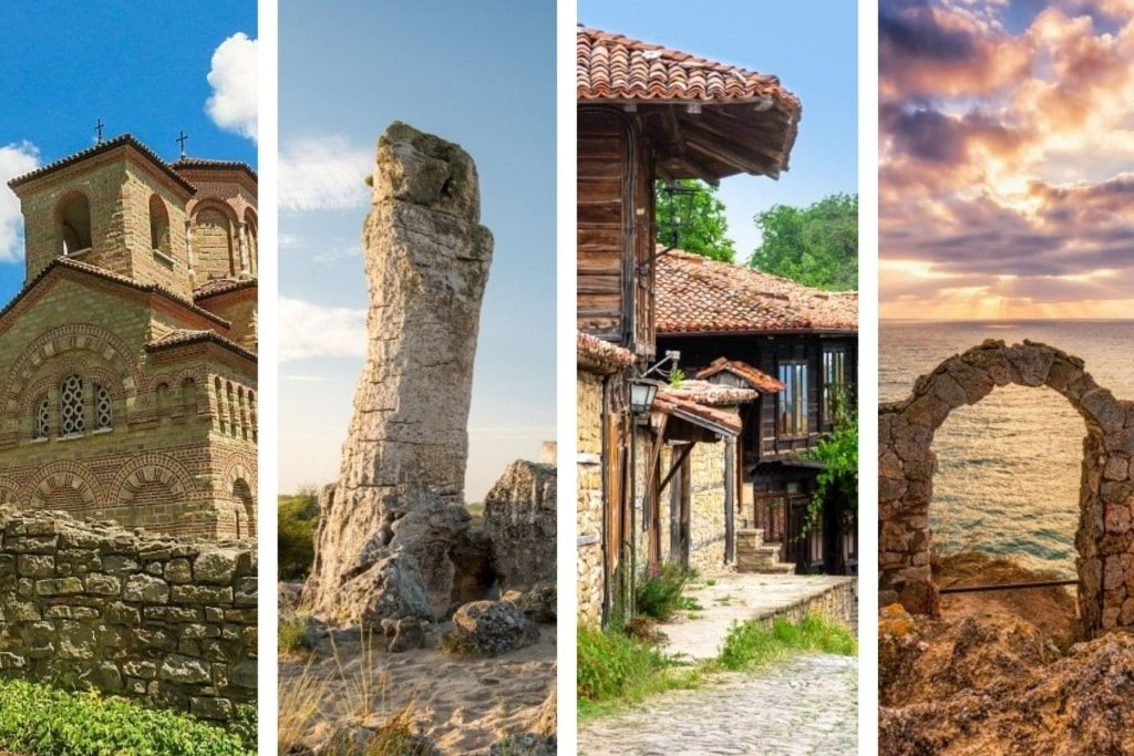 a collage of four pictures of beautiful places in Bulgaria
