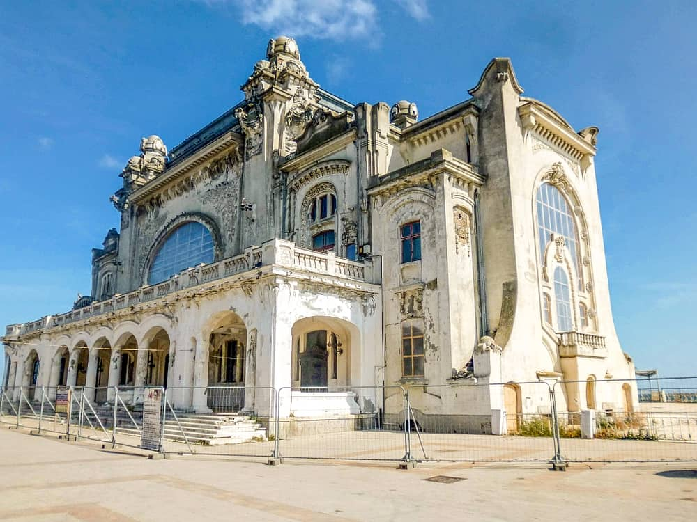a beautiful but dilapidated building in Art Nouveau style, the Constanta Casino in Romania