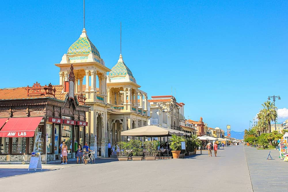 a sea-side boulevard with lovely colorful buildings in Art Nouveau style in Viareggio, Italy