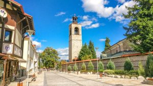a lovely view of the Old Town of Bansko in summer
